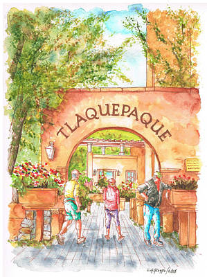 Shopping Center Painting - Tlaquepaque Gallery In Sedona, Arizona by Carlos G Groppa