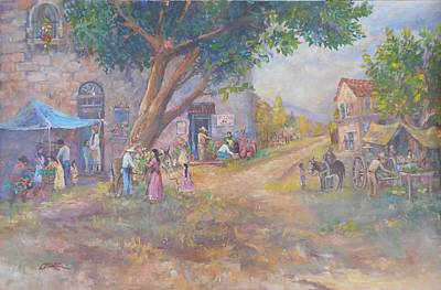 Lynn Burton Painting - Tlaquepaque Village by Lynn Burton