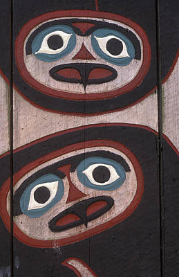 Tlingit Carved Faces On Chief Shakes Art Print by Rich Reid