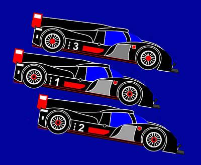 Audi R18 Digital Art - To Audi R18s Le Mans 2011 Was Downhill by Asbjorn Lonvig