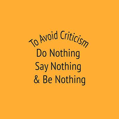 To Avoid Criticism 5455.02 Print by M K  Miller