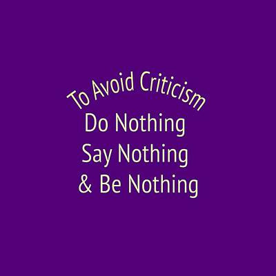 To Avoid Criticism 5456.02 Print by M K  Miller