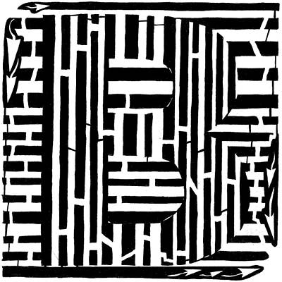 Frimer Drawing - To B Or Not To B by Yonatan Frimer Maze Artist