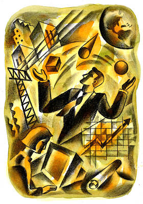 Juggling Painting - To Be A Businessman by Leon Zernitsky