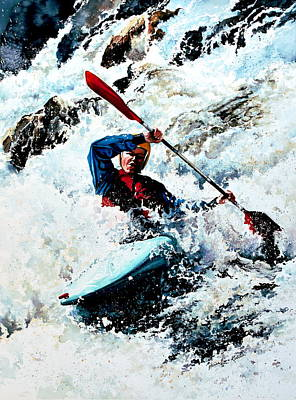 Canadian Sports Painting - To Conquer White Water by Hanne Lore Koehler