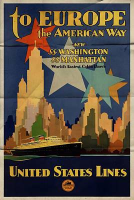 Mixed Media - To Europe The American Way - Folded by Vintage Advertising Posters