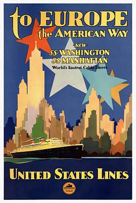 Mixed Media - To Europe The American Way - Restored by Vintage Advertising Posters