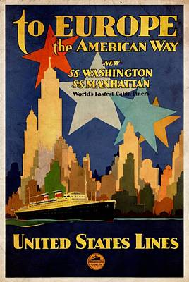 Mixed Media - To Europe The American Way - Vintagelized by Vintage Advertising Posters
