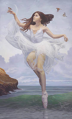 Floating Girl Painting - To Hear The Softly Spoken Magic Spell by Paul Bond