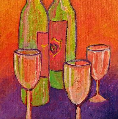 Wine Country Card Painting - To Life by Nancy Matus