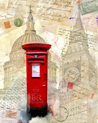 Mixed Media - To London By Mail - Classic Post Box by Mark E Tisdale