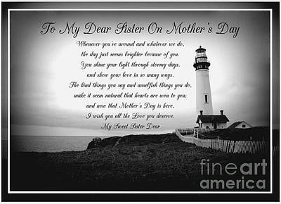 Photograph - To My Dear Sister On Mother's Day. by Joy Ballack