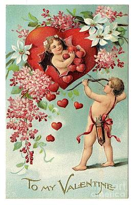 Painting - To My Valentine Vintage Romantic Greetings by R Muirhead Art