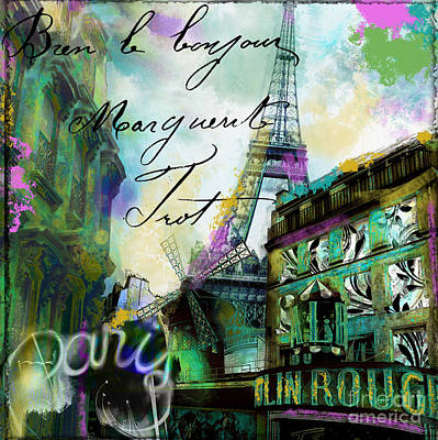 Paris Skyline Wall Art - Painting - To Paris With Love by Mindy Sommers
