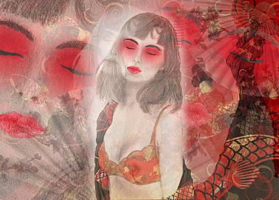 Koi Fish Drawing - To Tell You A Geisha's Story. by Andrea Ribeiro