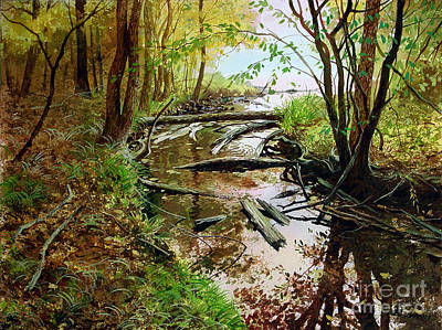 Art Print featuring the painting To The Lake by Sergey Zhiboedov