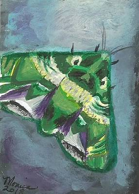 Painting - To The Light Green Moth by Monica Resinger
