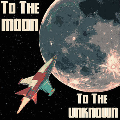 Painting - To The Moon - To The Unknown by Andrea Mazzocchetti