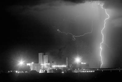 Lightning D Photograph - To The Right Budweiser Lightning Strike Bw by James BO  Insogna
