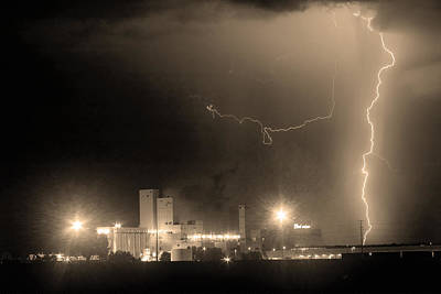 Lightning D Photograph - To The Right Budweiser Lightning Strike Sepia  by James BO  Insogna