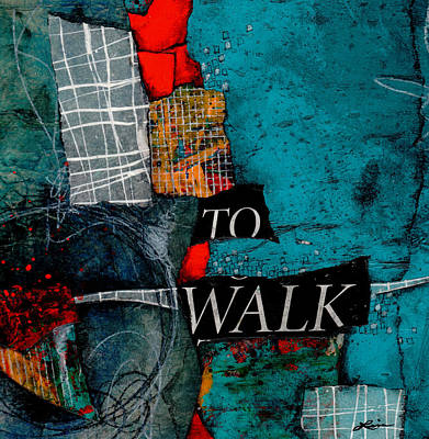 Blue And Red Mixed Media - To Walk by Laura  Lein-Svencner