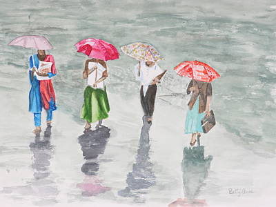 To Work In The Rain Art Print by Betty-Anne McDonald