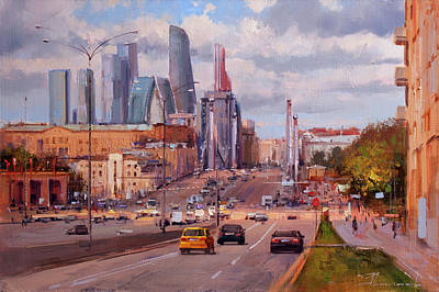 Moscow Wall Art - Painting - To Work. Krymsky Val Street. by Alexey Shalaev