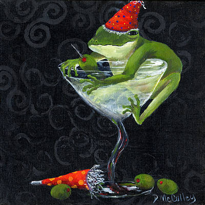 Under The Red Wall Painting - Toadally On The Outside by Debbie McCulley