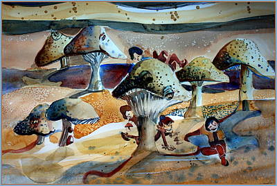 Drawing - Toadstool Village by Mindy Newman