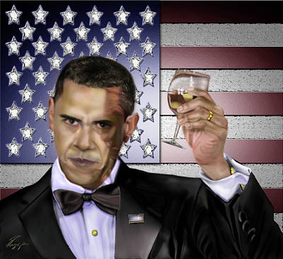 The Obamas Painting - Toast - Respect  by Reggie Duffie