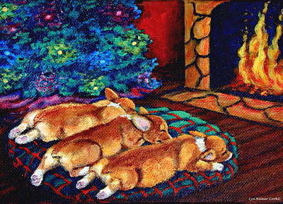 Pembroke Welsh Corgi Painting - Toasty Toes by Lyn Cook