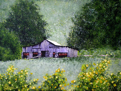 Tobacco Barn And Daisies Art Print by Bill Brown