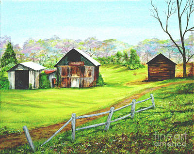 Tobacco Barns North Carolina Art Print by Pauline Ross