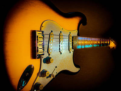 Digital Art - Tobacco Burst Stratocaster Glow Neck Series by Guitar Wacky