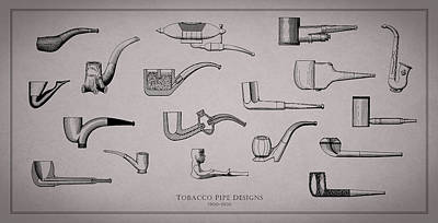 Cigar Photograph - Tobacco Pipe Designs 1900-30 by Mark Rogan
