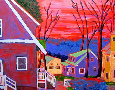 Maine Painting - Tobey Street Sunrise by Laurie Breton
