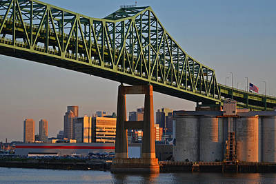 Digital Art - Tobin Bridge American Flag Boston Ma by Toby McGuire