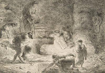 Relief - Tobit Burying The Dead by Giovanni Benedetto Castiglione