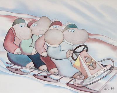 Toboggan Hippos Original by Romy Muirhead