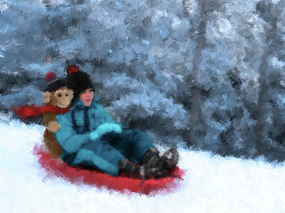 Toboggan Ride - Impressionist Winter Snow Scene Art Print by Rayanda Arts