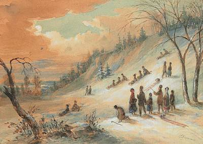 Wintry Drawing - Tobogganning On A Hillside by James D Duncan
