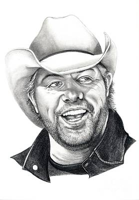 Pencil Drawing Drawing - Toby Keith by Murphy Elliott