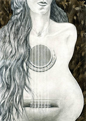 Flamenco Mixed Media - Tocar Mi Amor by Miko At The Love Art Shop