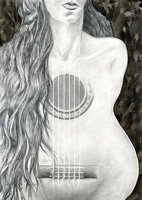 Nude Woman Guitar Mixed Media - Tocar Mi Amor by Art By Miko