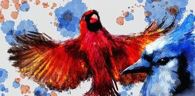 Bluejay Digital Art - Today I Am A Cardinal by Richard Okun