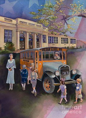 School Bus Painting - Today It's West Gresham Elementary by Mike Hill