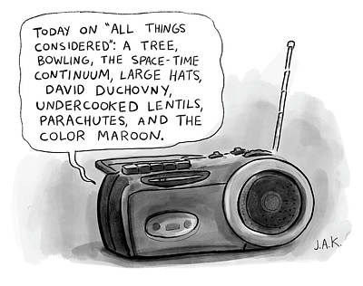 Drawing - Today On All Things Considered by Jason Adam Katzenstein