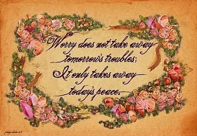 Worry Mixed Media - Todays Peace by Jenny Elaine