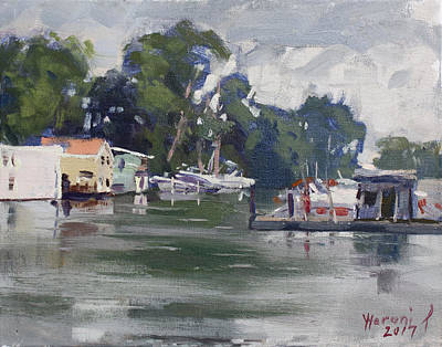 Rainy Day Painting - Today's Plein Air Workshop Demonstration At Wardell Boat Yard by Ylli Haruni