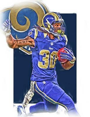 Football Mixed Media - Todd Gurley Los Angeles Rams Oil Art 3 by Joe Hamilton